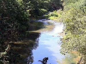O Rio Camanducaia, na região central de Amparo (Foto: Reprodução EPTV)