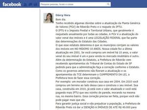 Pelo Facebook, prefeita de Ribeirão fala sobre aumento de IPTU (Foto: Reprodução)