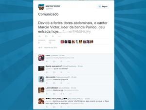 Márcio Victor é internado durante carnaval em Salvador e fãs desejam boa recuperação nas redes sociais (Foto: Reprodução/Twitter)