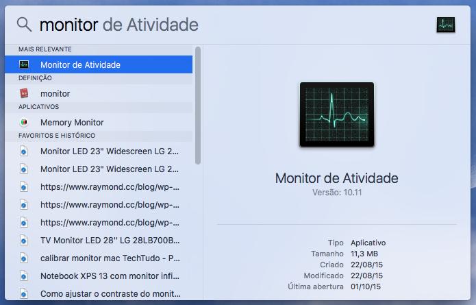 Abra o monitor de atividades do Mac (Foto: Reprodução/Helito Bijora)