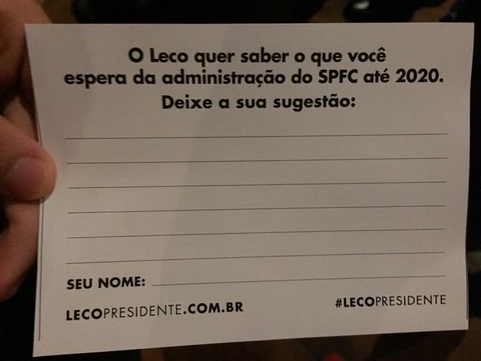 Pedido de sugestões Leco São Paulo (Foto: Alexandre Lozetti)