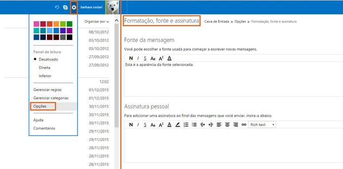 Altere a assinatura de e-mail na conta do Outlook (Foto: Reprodução/Barbara Mannara)