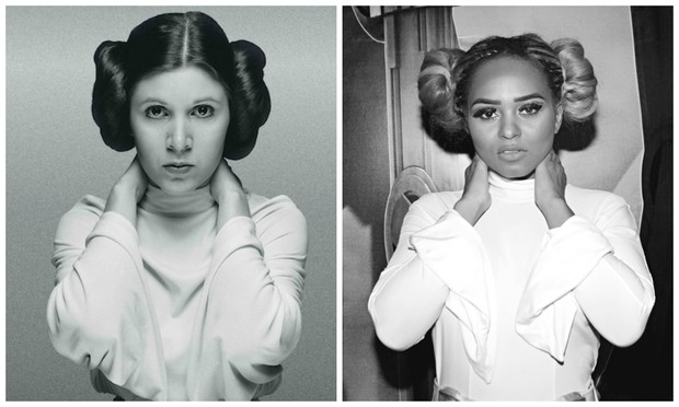 Erika Canela homenageia Carrie Fisher vestida de Princesa Leia (Foto: Foto: Divulgação / Celso Tavares/EGO)