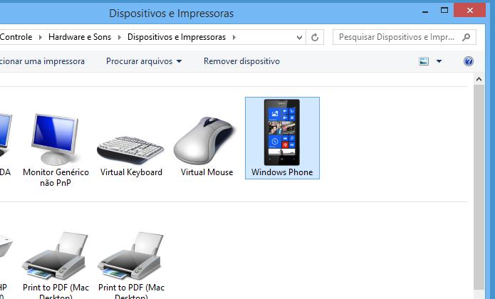 Acesse o dispositivo Windows Phone (Foto: Reprodução/Helito Bijora)