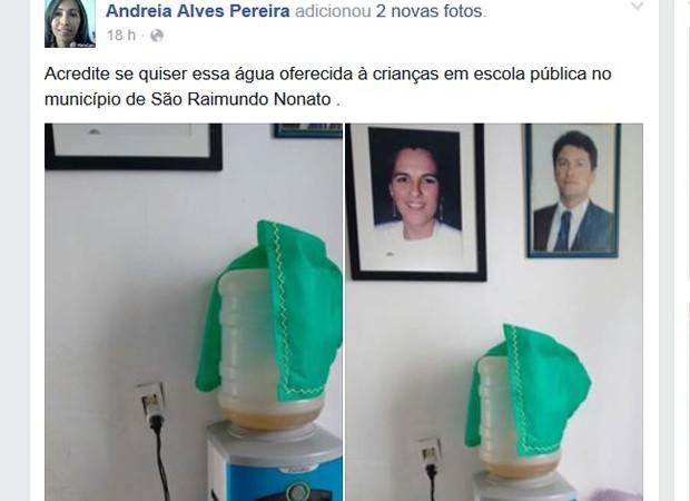 Bebedouro com água amarela em escola pública (Foto: Reprodução/Facebook)