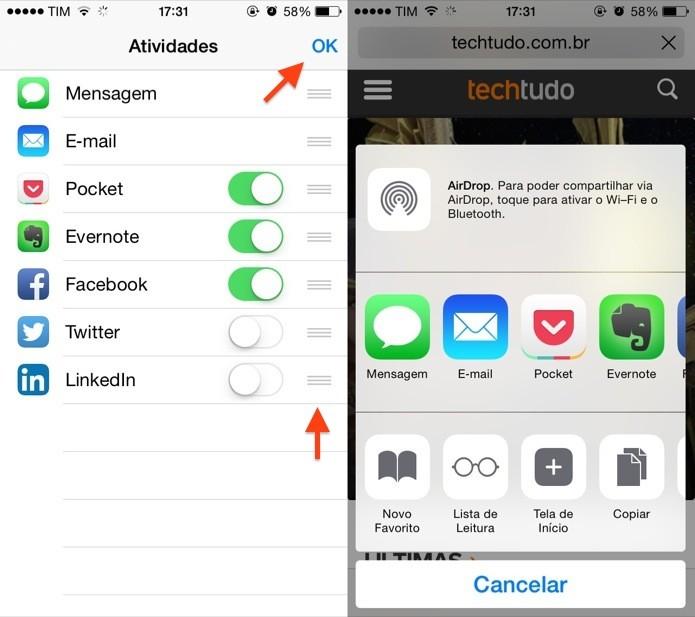 Configurando extensões no Safari do iOS 8 (Foto: Reprodução/Helito Bijora)