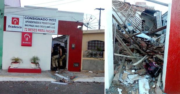 Agência do Bradesco na cidade de Arez foi destruída pela explosão (Foto: Cláudio Henrique/G1)