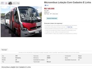 Imagem mostra lotação anunciada na internet com a placa borrada (Foto: Reprodução)