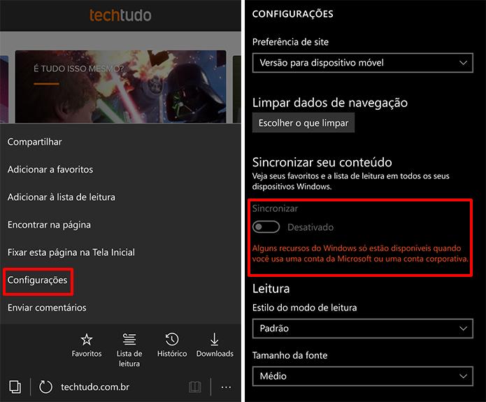 Microsoft Edge tem opção de sincronizar visível, mas ativação depende da versão do Windows 10 Mobile (Foto: Reprodução/Elson de Souza)