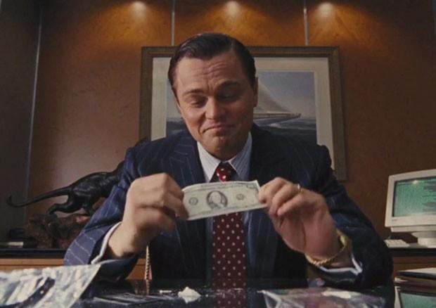 Leonardo DiCaprio em 'O Lobo de Wall Street' (Foto: Reprodução GloboNews)