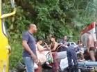 Acidente entre ônibus e carro deixa duas pessoas feridas na SP-55