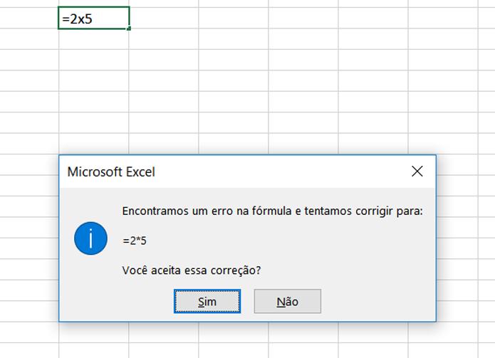 No Excel, uma multiplicação é simbolizada pelo *, e não pelo x (Foto: Reprodução/Filipe Garrett)