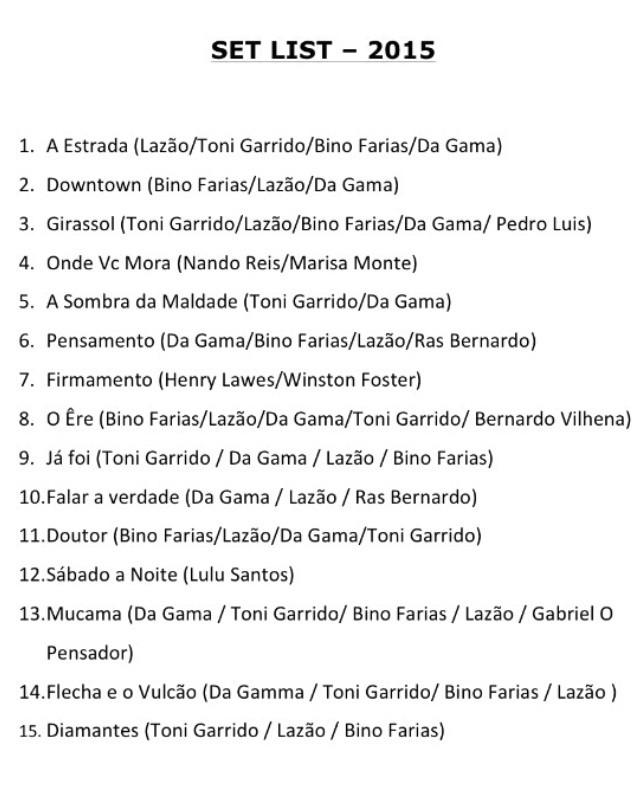 Setlist: Cidade Negra no Rock In Rio 2015 (Foto: Multishow)