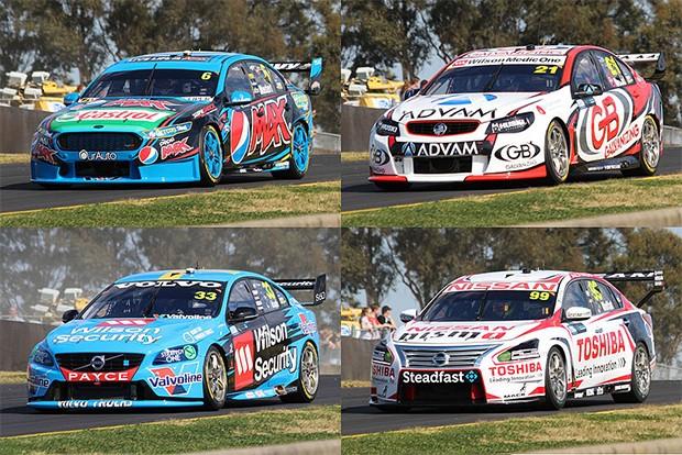 No sentido horário de cima à esquerda: um Ford FG X Falcon , Holden VF Commodore , Nissan Altima L33 e um Volvo S60. (Foto: Reprodução/Kytabu/wikipedia)