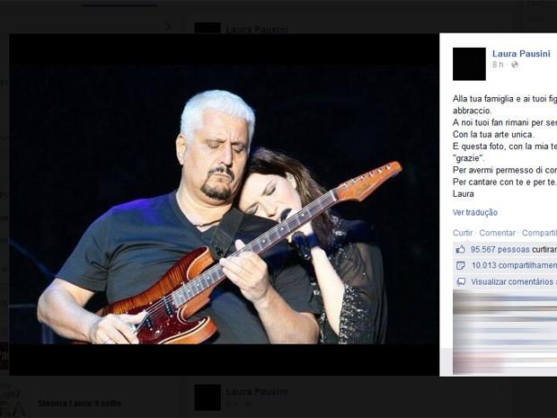 Laura Pausini publicou homenagem a Pino Daniele (Foto: Reprodução/Facebook)