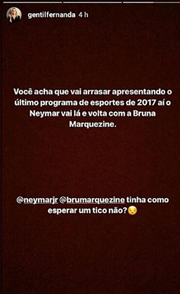 Fernanda Gentil comentou a volta de #BruMar (Foto: Reprodução/Instagram)