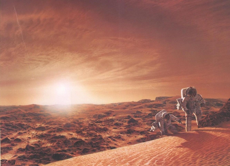 Cartão postal da Casa Branca mostra concepção artística de astronautas em Marte. Será que veremos algo parecido pela TV? (Foto: Reprodução)