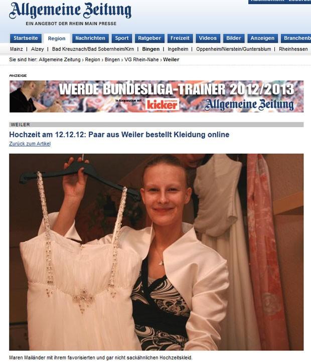 Maren Mailänder marcou seu casamento para as 12h12 de 12/12/12. (Foto: Reprodução)