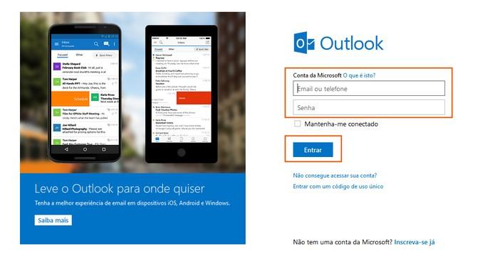 Acesse sua conta do Outlook.com com login e senha (Foto: Reprodução/Barbara Mannara)
