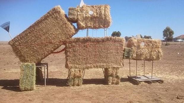 Fazendeiro pode ser multado devido à escultura de feno que simula sexo entre touro e vaca (Foto: Reprodução/Twitter/Tully Smith)