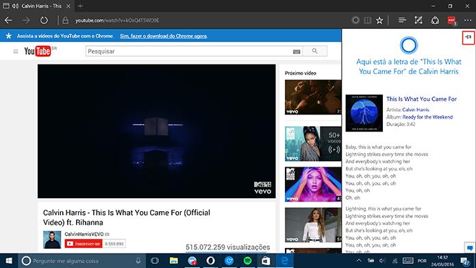 Cortana pode mostrar letras de músicas do YouTube no Microsoft Edge (Foto: Reprodução/Elson de Souza)