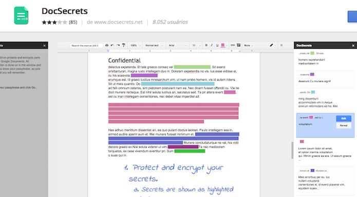 DocSecrets permite escondera partes do documento (Foto: Reprodução/Edivaldo Brito)