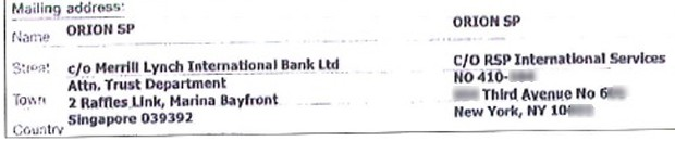 Endereço em Nova York para envio de correspondências de banco a Cunha (Foto: Reprodução)