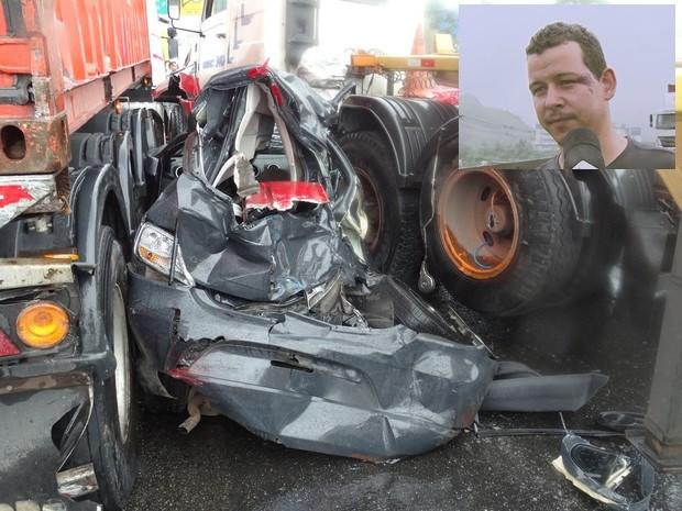 Homem sobreviveu após seu carro ser destruído em acidente (Foto: Roberto Strauss / G1)