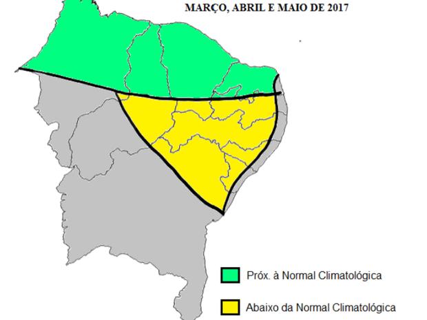 Mapa elaborado na reunião mostra expectativa de chuvas para o Nordeste (Foto: Divulgação/Emparn)