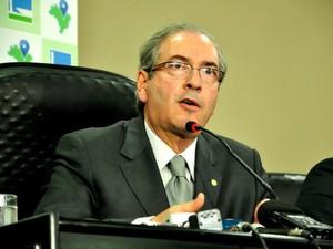 O presidente da Câmara dos Deputados, Eduardo Cunha (PMDB), esteve em Cuiabá para sessão itinerante. (Foto: André Souza / G1)