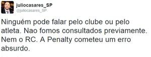 Post Twitter Julio Casares São Paulo (Foto: Reprodução / Twitter)