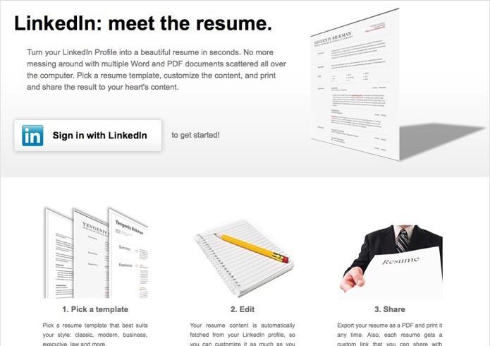 Acesse o site dedicado à criação de currículos do LinkedIn (Foto: Reprodução/Helito Bijora)