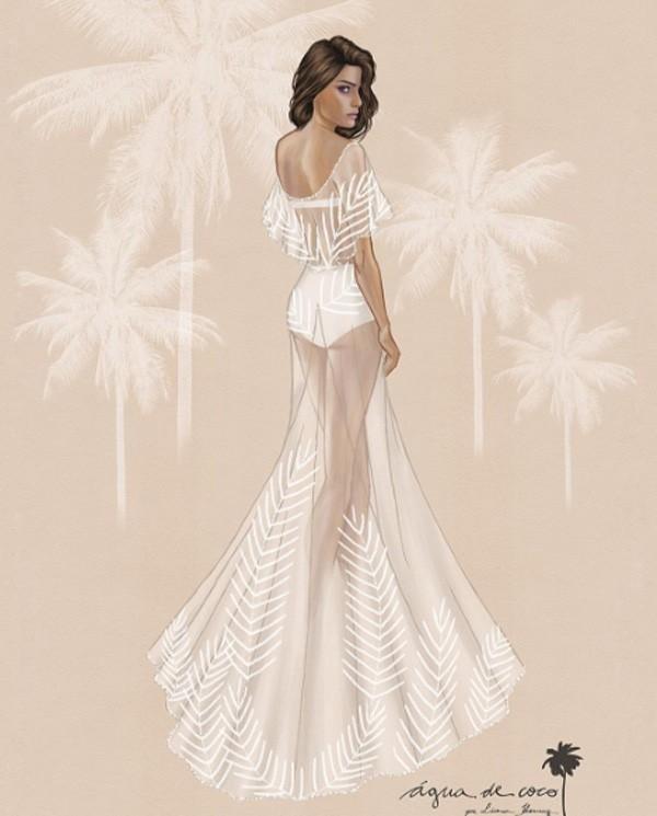 O croqui do vestido de Isabeli Fontana (Foto: Reprodução/Instagram)