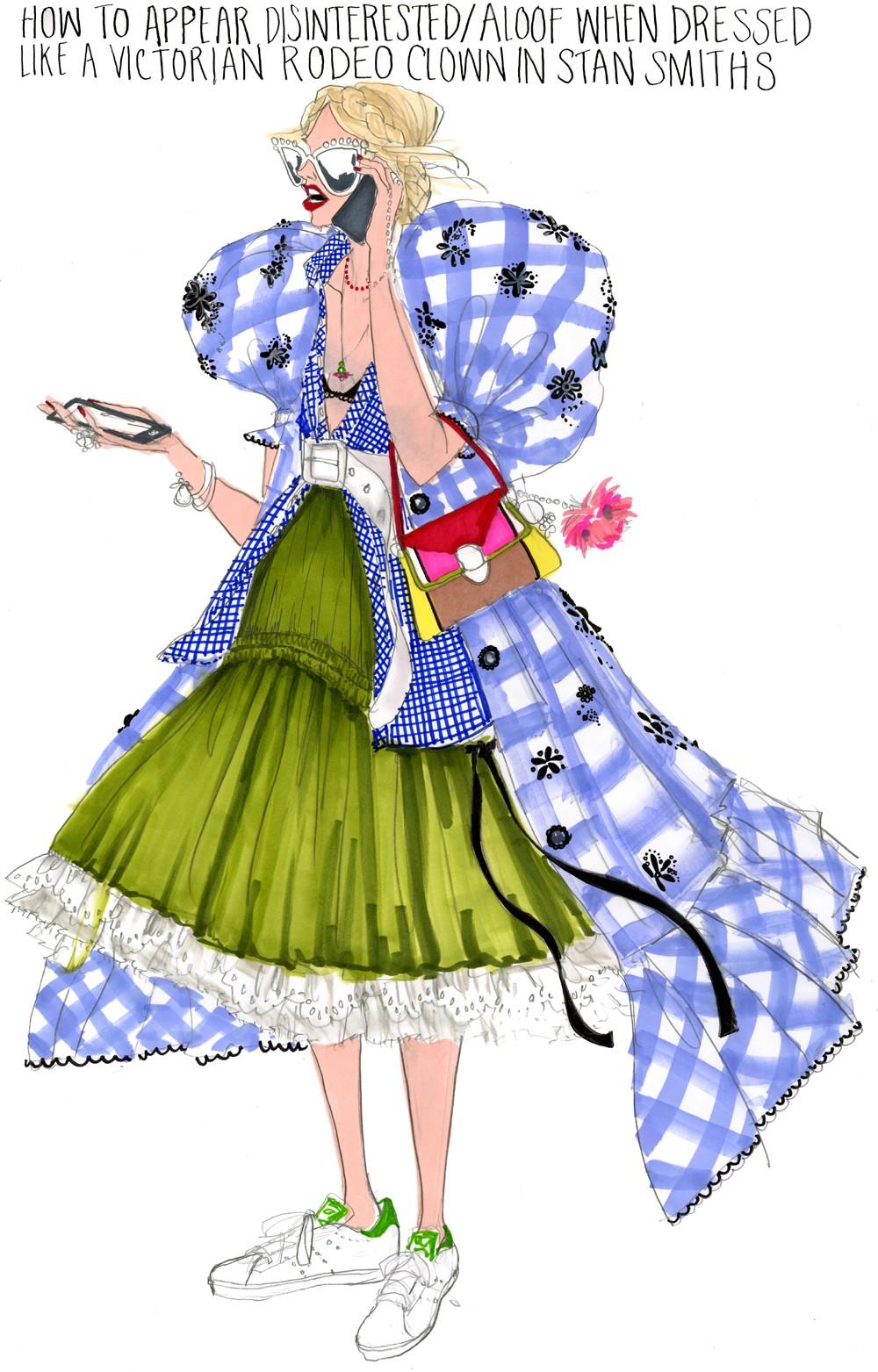 """""""Como parecer distraída enquanto está vestida como um palhaço de rodeio a bordo de tênis Stan Smith"""" (Foto: Ilustração Julie Houts/Divulgação)"""