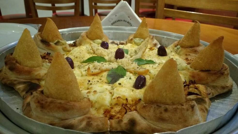 Pizza de coxinha (Foto: Edilson Pereira/ Arquivo Pessoal)