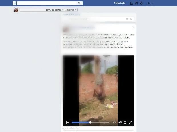 Suspeito de roubo é amarrado por populares em Porto Velho (Foto: Facebook/Reprodução)