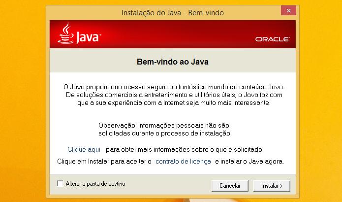 Assistente de instalação do Java (Foto: Reprodução/Helito Bijora)