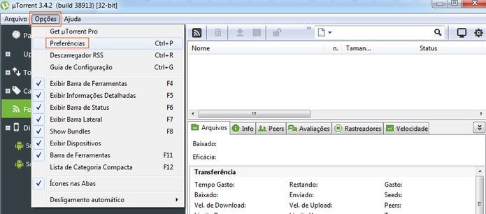 Acesse as configurações do uTorrent (Foto: Reprodução/Barbara Mannara)