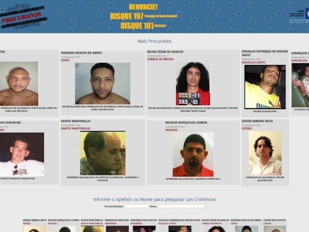 Página do governo do estado mostra os 9 criminosos mais procurados em MT (Foto: Divulgação/Sesp_MT)