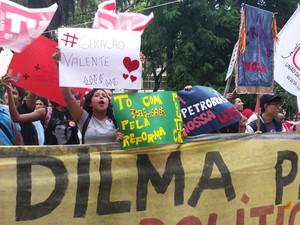 Ato reúne manifestantes na Praça Afonso Arinos, em Belo Horizonte (Foto: Humberto Trajano/G1)