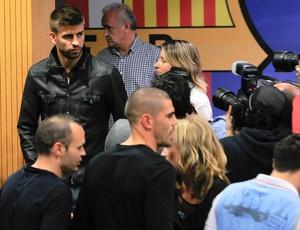 pique iniesta valdes barcelona coletiva (Foto: Agência Getty Images)