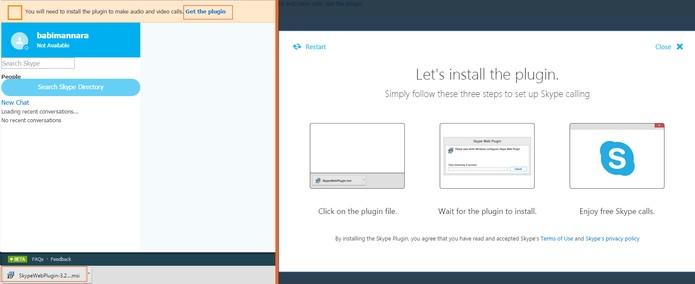 Instale o plugin do Skype Web (Foto: Reprodução/Barbara Mannara)