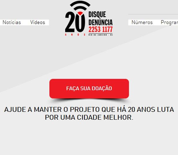 Página do Disque-Denúncia convoca para doações (Foto: Reprodução)