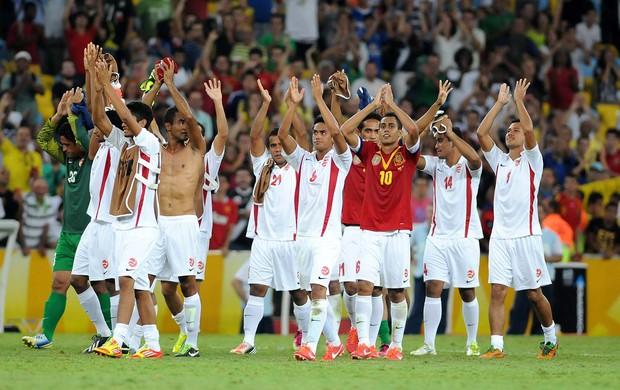 Jogadores Taiti x Espanha Copa das Confederações (Foto: Alexandre Durão / Globoesporte.com)