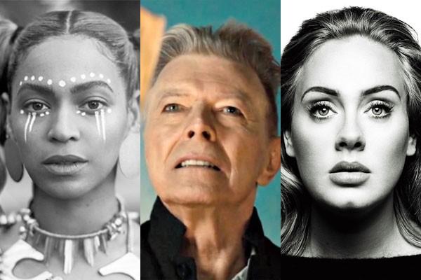 Beyoncé, David Bowie e Adele (Foto: Divulgação)