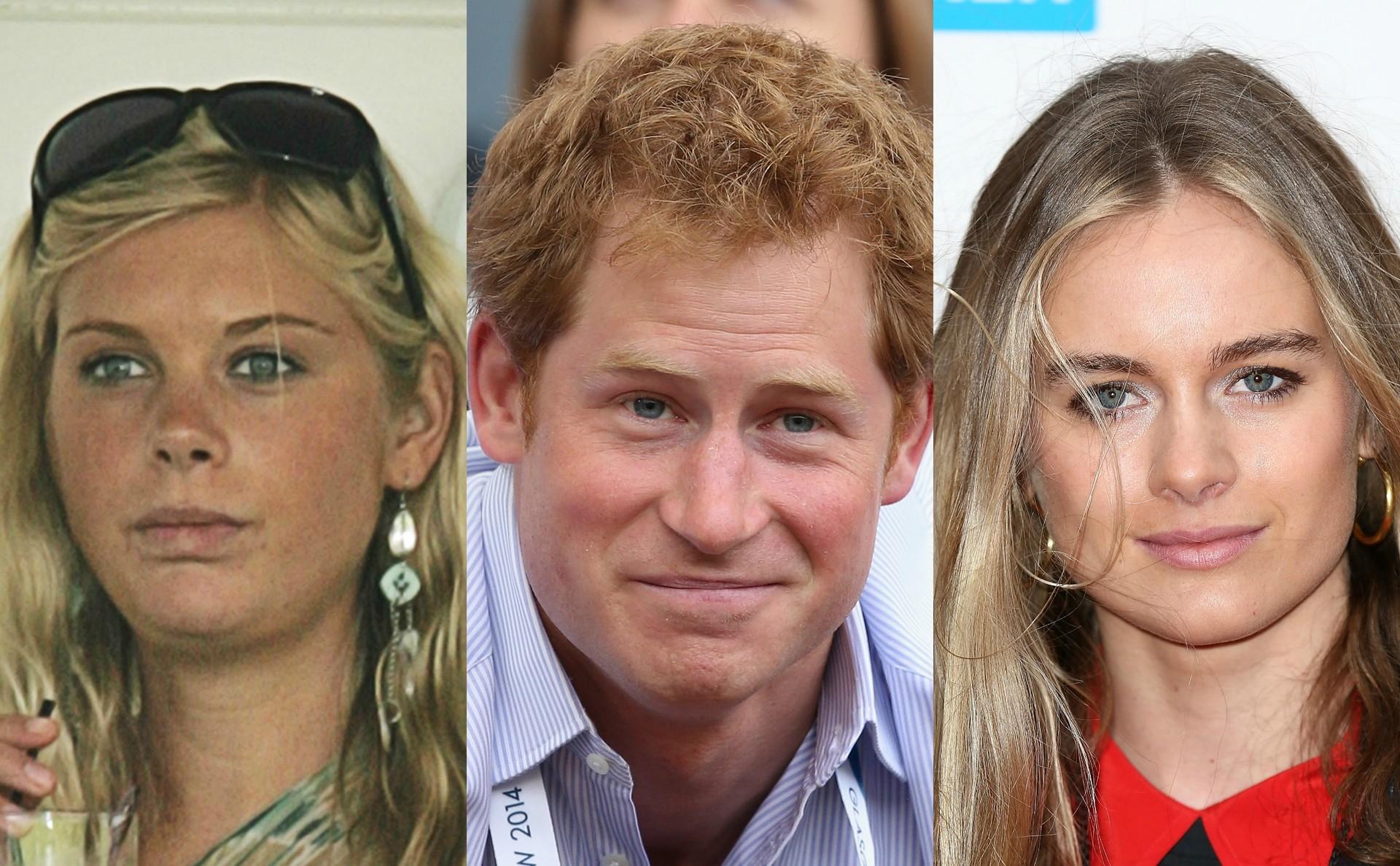 Entre 2004 e 2010, o príncipe Harry, do Reino Unido, namorou com a modelo do Zimbábue Chelsy Davy (à esq.). Logo em seguida, teve um relacionamento com uma quase cópia dela, chamada Cressida Bonas. (Foto: Getty Images)