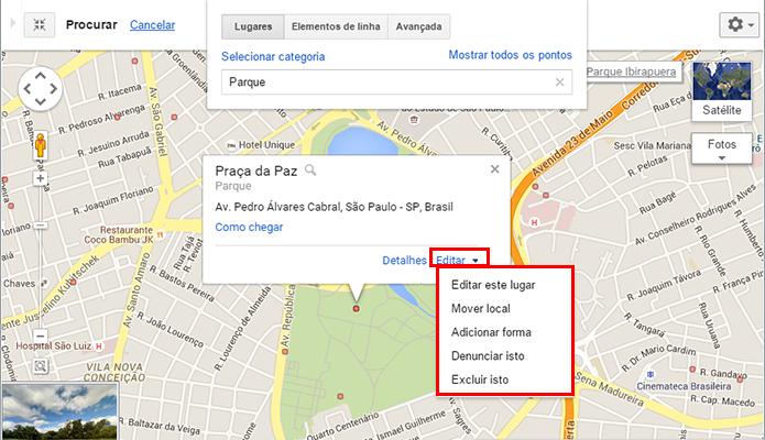 Escolha um marcador e clique para editar suas informações (Foto: Reprodução/Paulo Alves)