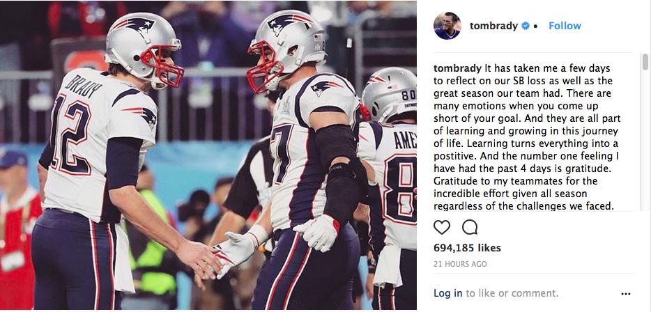 O texto compartilhado por Tom Brady, marido de Gisele Bündchen (Foto: Instagram)