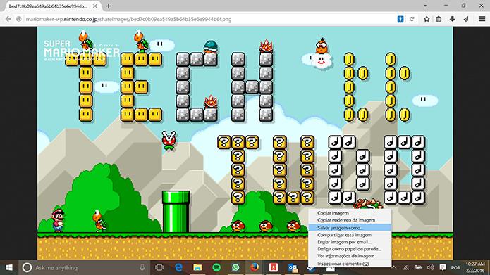 Super Mario Maker exibirá foto em resolução total para que o usuário salve (Foto: Reprodução/Elson de Souza)