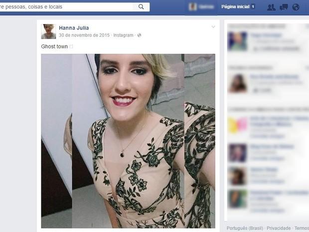 Hanna morreu após sofrer uma parada cardiorrespiratória  (Foto: Reprodução/Facebook)